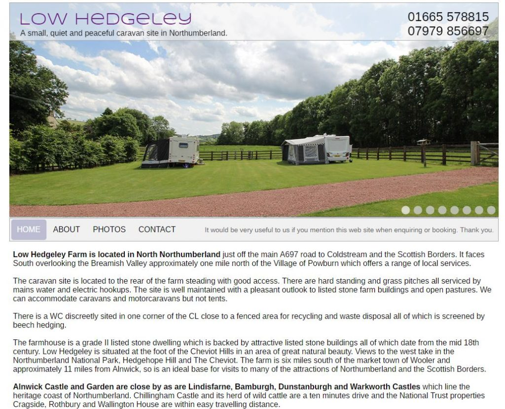 Low Hedgeley Farm Caravan Site